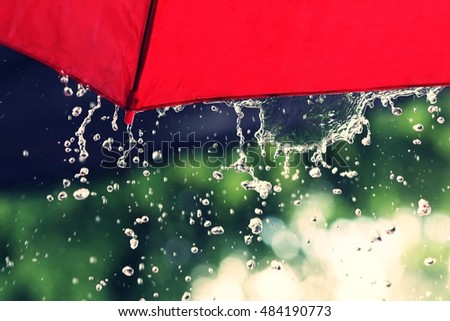 red umbrella and rain #484190773