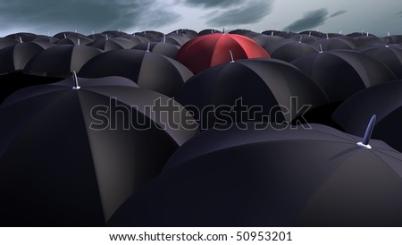 red umbrella between a lot of  black umbrellas