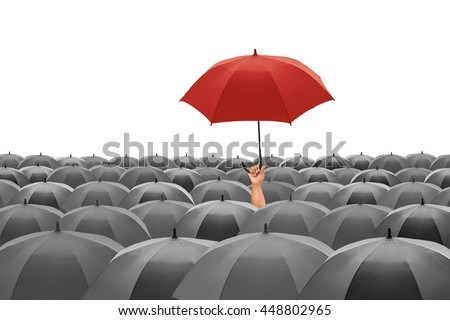 red umbrella fly out the mass...