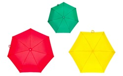 Red umbrella, green umbrella and yellow umbrella isolated on white. Colorful umbrellas. Colorful umbrellas isolated on white background. Three umbrellas