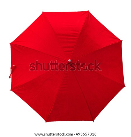 Red umbrella. isolated umbrella on white background. top view. image. umbrella with rain