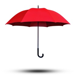 Red Umbrella opened photo camera down angle view isolated on white background. This has clipping path.