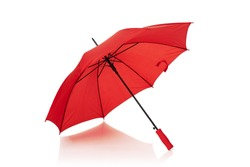 Red umbrella or parasol with red handle isolated on white background