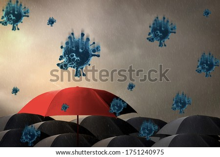 Red umbrella with storm,sky background and rain with black cloud,virus outbreak epidemic coronavirus or covid 19,in rainy season,concept saving planning,insurance,health care and medical ,3d render