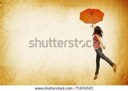 Red umbrella woman and old paper  for text and background
