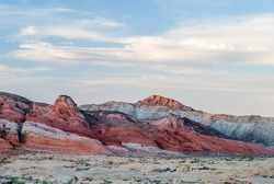 Red unique sandstone rock formations at Valley of Fire State park, Nevada, USA.