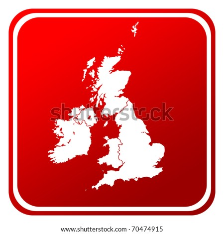 Red United Kingdom and Ireland map button isolated on white background. - stock photo