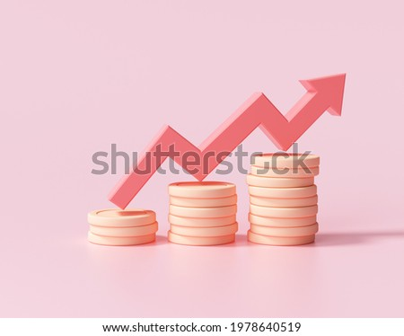 Red up arrow and coin stacks on pink background. Financial success and growth concept. 3d render illustration