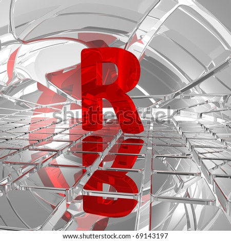 red uppercase letter r in futuristic space - 3d illustration