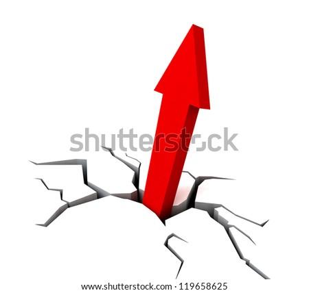 Red Upward Arrow Showing Breakthrough Profit Achievement - stock photo