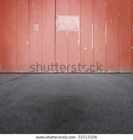 red urban grungy wall with blank paper sign