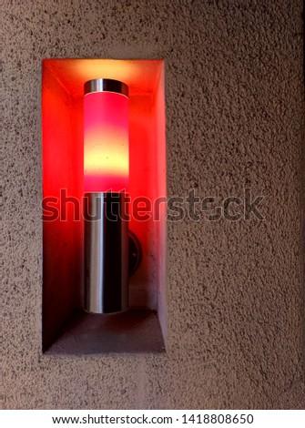 Red urban neon lantern, red lantern in the niche