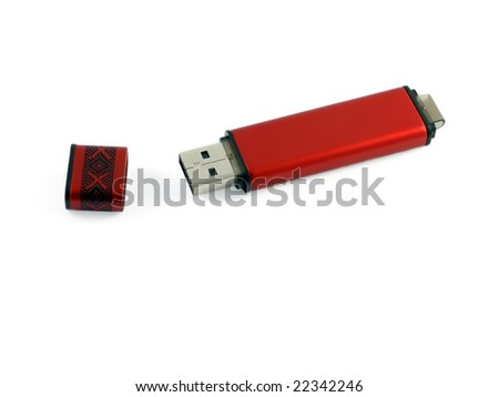 Red usb flash memory isolated on white background.