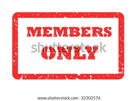 Red used members only stamp, isolated on white background.