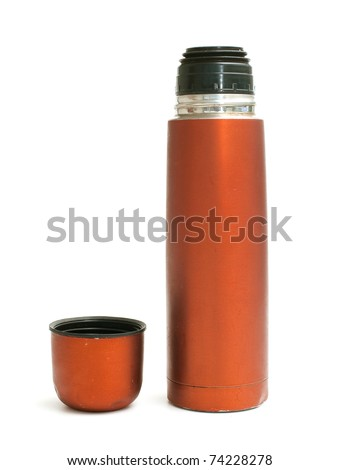 red used thermos on white background