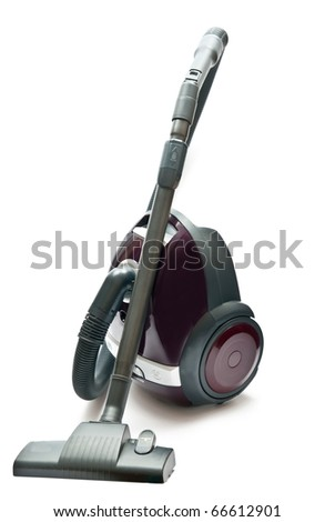 Red vacuum cleaner isolated on the white background