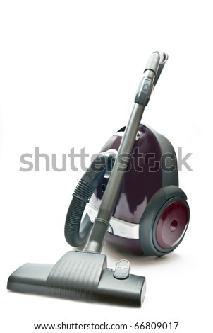Red vacuum cleaner isolated on the white background.