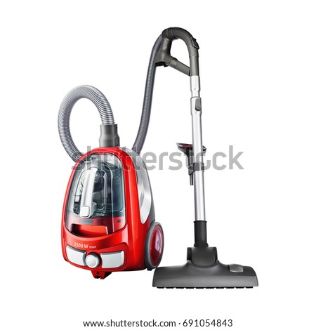 Red Vacuum Cleaner Isolated on White Background. Domestic Appliances. Household Cleaning Equipment. Cleaning House Tool. Electric Appliances. Household Appliances. Home Appliances #691054843