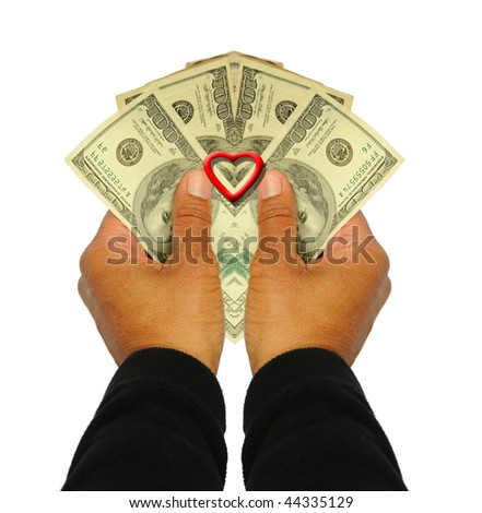 Red Valentine Heart and Money Hundred Dollar Bills in hands African American