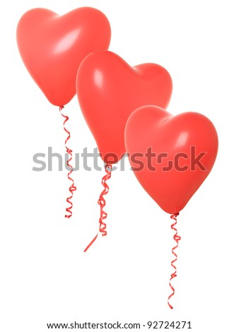 Red valentine heart balloons, isolated on white.