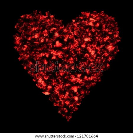 Red valentine heart from abstract floral pattern on black background