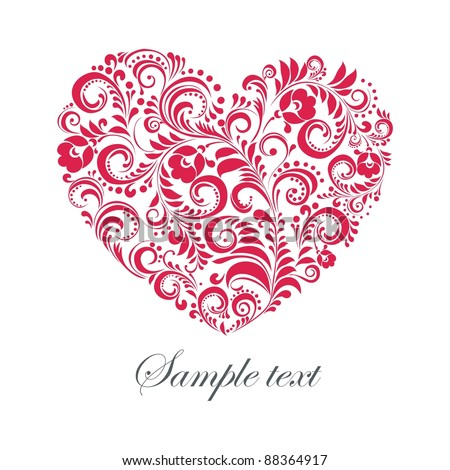 Red valentine heart in floral style isolated on White background. illustration