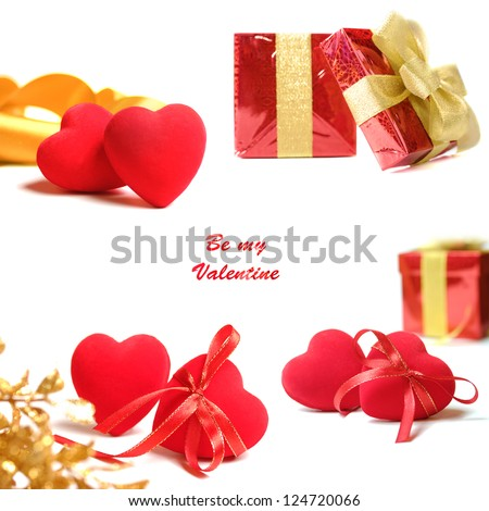 Red valentine hearts and gift box isolated on white background collage