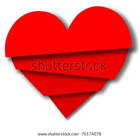 Red Valentine pieces overlap as love hierarchy priorities or 4 slices of broken heart - stock photo