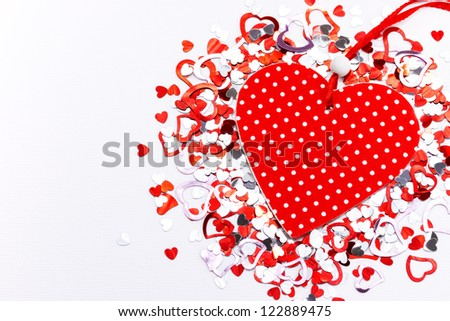 Red Valentine's background with hearts - stock photo