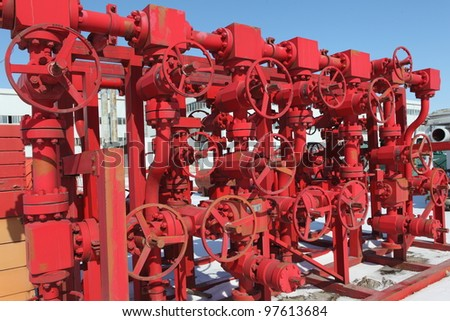 Red valves - stock photo