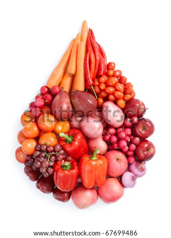 red vegetables and fruits in water drop shape - stock photo
