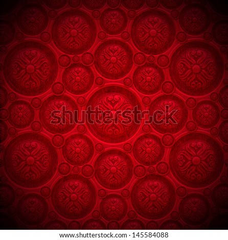 Red Velvet Background With Classic Ornament / Closeup Detail Of ...