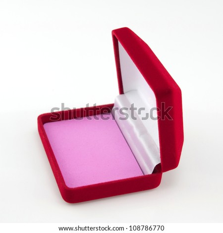 red velvet box isolated on white background