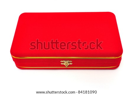 red velvet box on white background