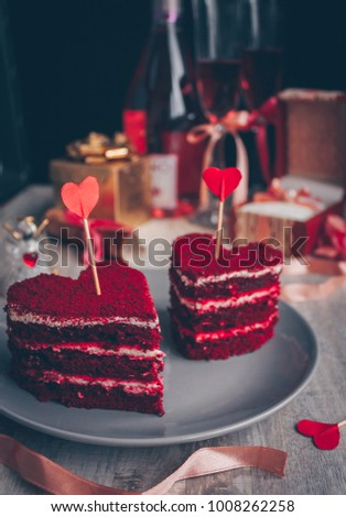 Red velvet cake for Valentine`s day, engagement romantic dinner