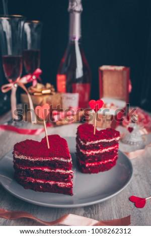 Red velvet cake for Valentine`s day, engagement romantic dinner #1008262312