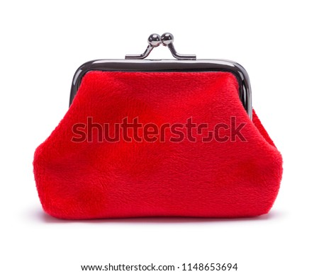 Red Velvet Coin Purse Isolated on White Background. Сток-фото ©