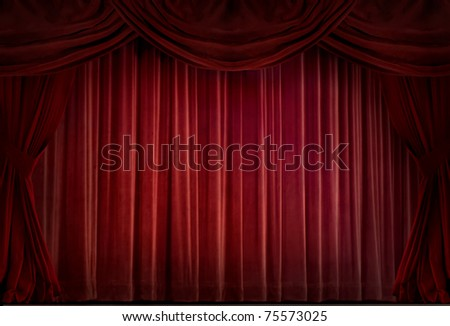 Red velvet curtain in a retro style