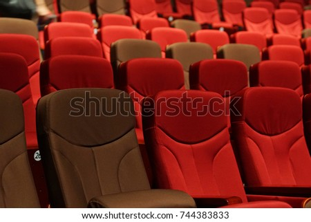 Red Velvet Fabric Cloth Empty Many Seats Row Column in Movie Theater Concert or Seminar Conference room #744383833