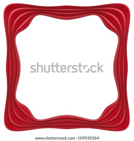 Red velvet frame. White background.