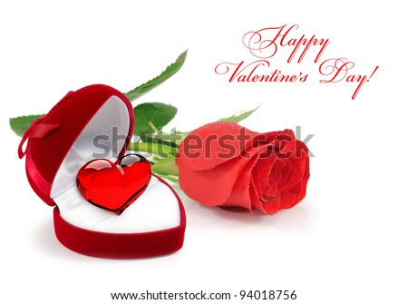 Red velvet Heart-shaped Gift Box with a glass heart with rose on a white background