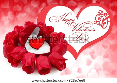 Red velvet Heart-shaped Gift Box with heart with roses on background hearts