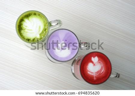 Red Velvet, Macha Latte, Taro Latte