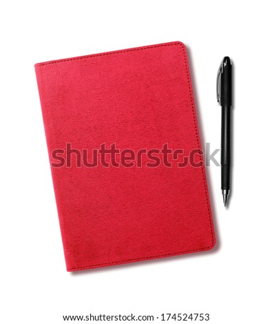 Red velvet notebook and pen isolated on white background