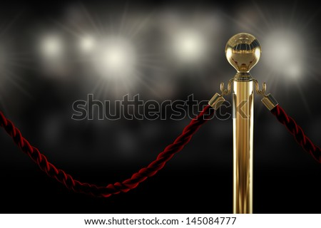 Red Velvet Rope Barrier Close-Up With Flash Light On Background
