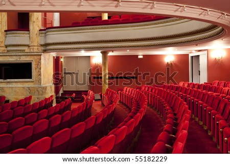 red velvet seat in classical theater at Cahors, france