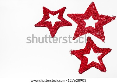 Red velvet star on white background
