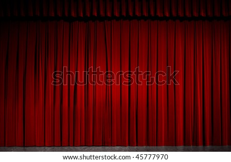 Red velvet theater curtain. - stock photo