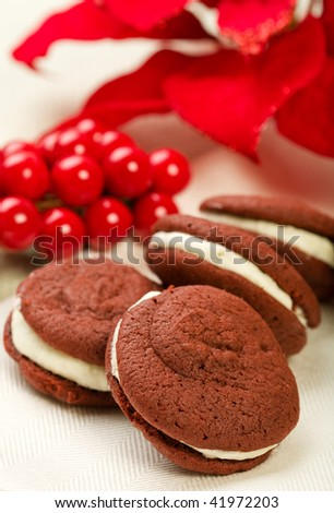 Red Velvet Whoopie Pies in a holiday setting