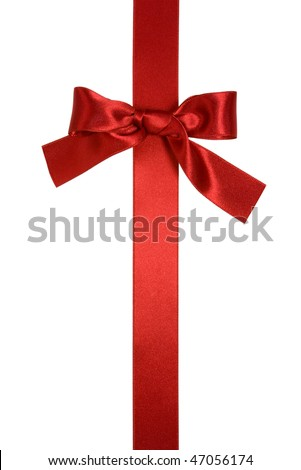 red vertical ribbon with bow isolated on white